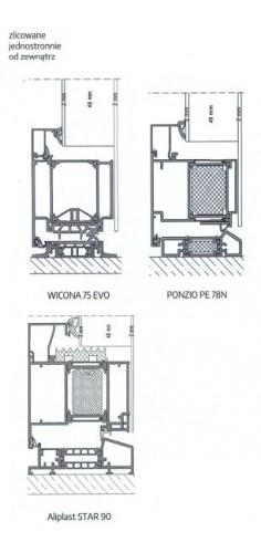 Drzwi aluminiowe zlicowane jednostronnie